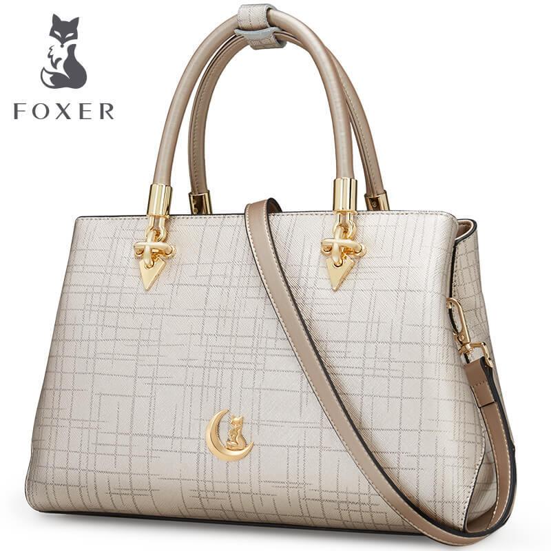 Foxer Brand New Fashion Girls Handbags Women Cowhide Leather Shoulder Bag  Crossbody Bag Messenger Bag for Women 958129F1