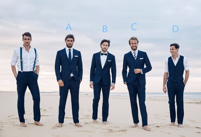 Navy Blue Groomsman Tuxedos For Beach Wedding 2 Pieces Men Slim Fit Prom Party Dinner Suits