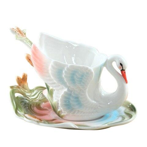 Xícara de Porcelana Caneca de Café Copo de Porcelana de Ossos Copos de Casamento Chá de Leite 3d Colorido Esmalte Conjunto Cisne Criativo Amigo