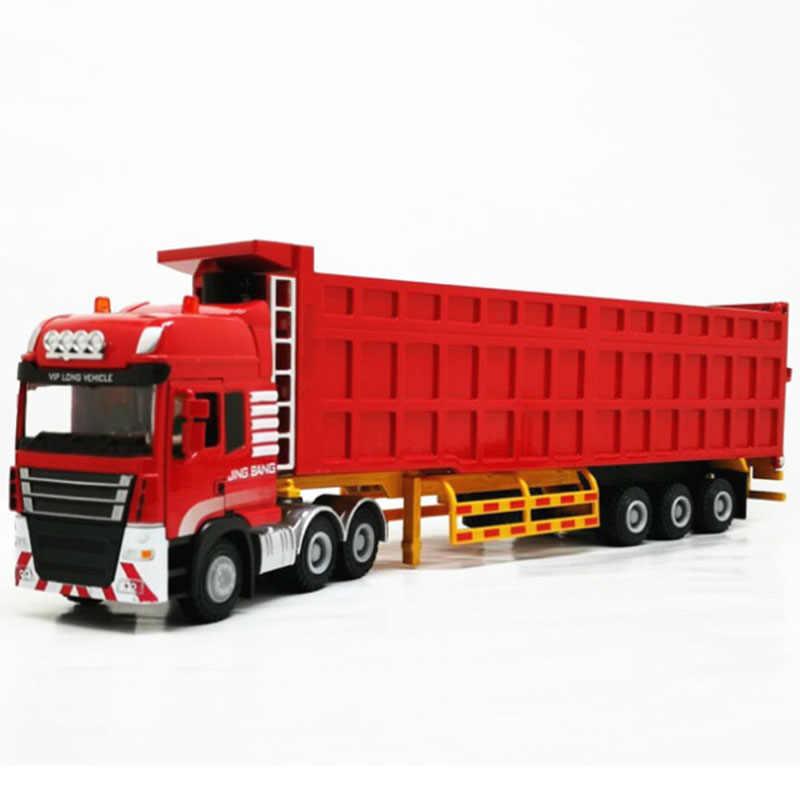 1:50 Skala Logam Paduan Truk Trailer Kontainer Truk Simulasi Tinggi Diecast Model Kendaraan Rekayasa Mainan