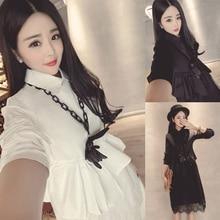 women's shirt dress Polo female spring and autumn lace stitch slim waist long temperament lady a-line dresses