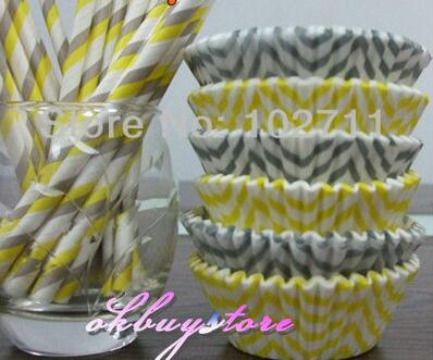 400 Yellow & Gray Chevron Cupcake Liners, Wedding Polka Dot Cupcake Liners, ColorBlock DESIGNER GREASE RESISTANT Liners
