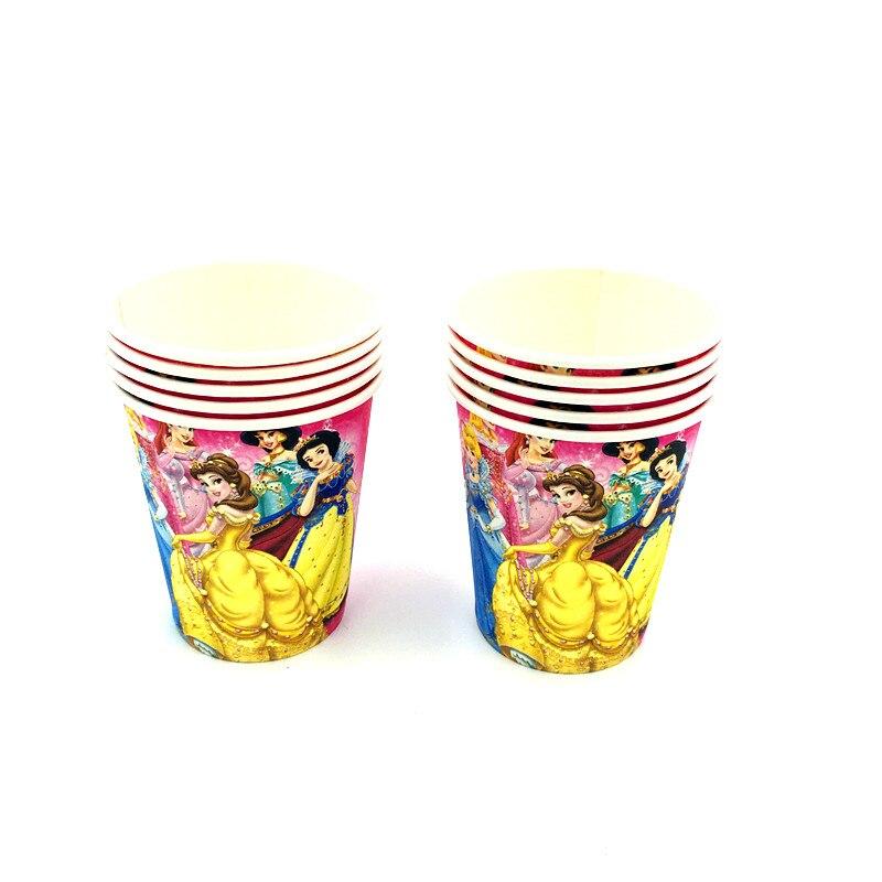 10pcs/lot princess cups kids birthday party supplies princess paper glass happy birthday party princesses glasses