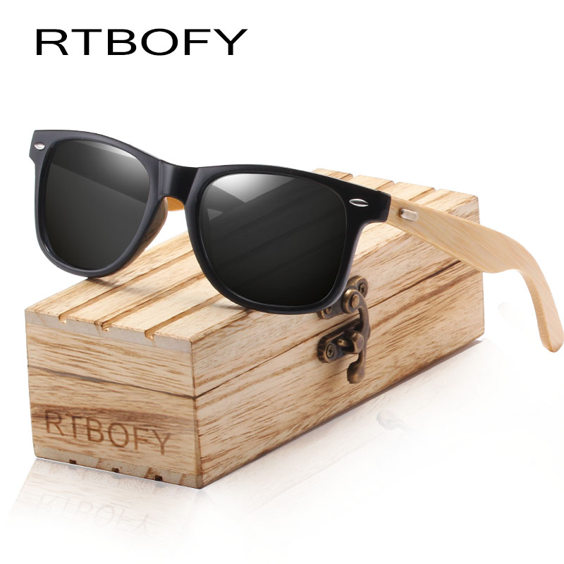 RTBOFY Wood Sunglasses for Men and Women Brand Design Shades Handmade UV400 Protection Sun Glasses Wooden Legs with PC Frame