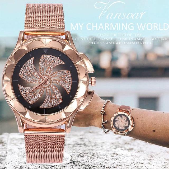 Fashion Women Rose Gold Colorful Dial Windmills Wrist Watch Luxury Casual Quartz