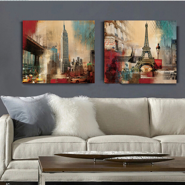 2 Panel New York Eiffel Tower Empire State Building Canvas Art wall Home Decor Modern Painting