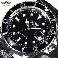Business Sports Military Stainless Steel Watch Top Luxury Brand WINNER Black Watch Men Casual Male Automatic