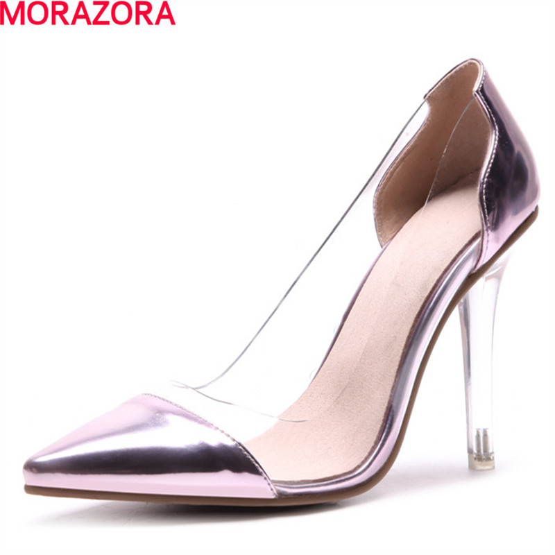 MORAZORA fashion new Crystal heel shallow mouth pointed toe single shoes thin high heels party shoes women pumps big size 34-46 2017 spring autumn shoes shallow mouth pointed toe fashion high heeled velvet thin heels pumps office party shoes
