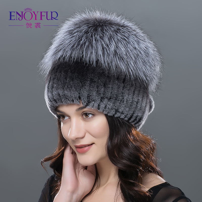 ENJOYFUR hiver rex fourrure de lapin chapeaux pour les femmes bonnets haut tricoté avec de la fourrure de renard nouvelle marque décontracté bonne qualité casquettes - 5