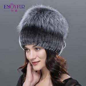 Image 5 - ENJOYFUR חורף רקס ארנב פרווה כובעים לנשים בימס למעלה סרוג עם שועל פרווה חדש מותג מזדמן כובעים באיכות טובה