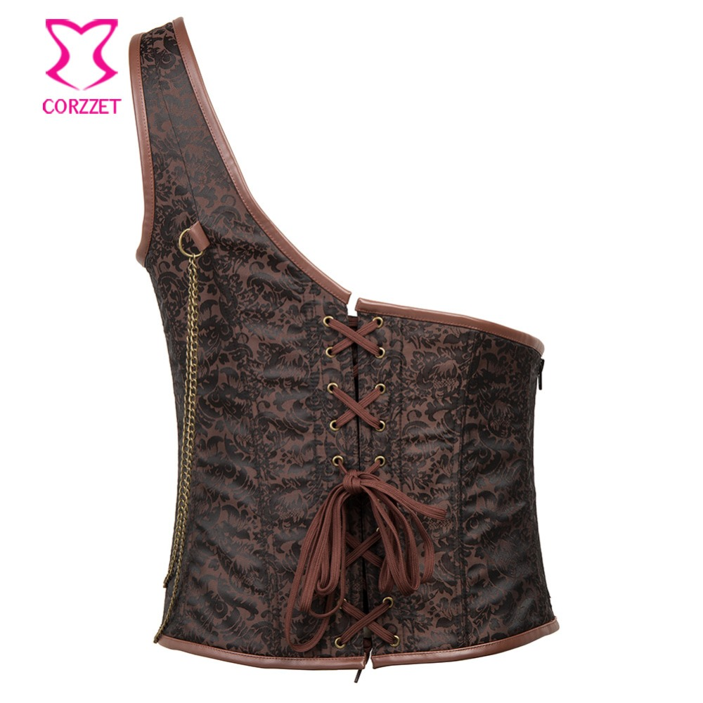 Brown One Shoulder Zipper Steel Boned Corset Steampunk Waistcoat Mens Vintage Jacket Gothic Clothing Men Vest Coat Plus Size 3XL