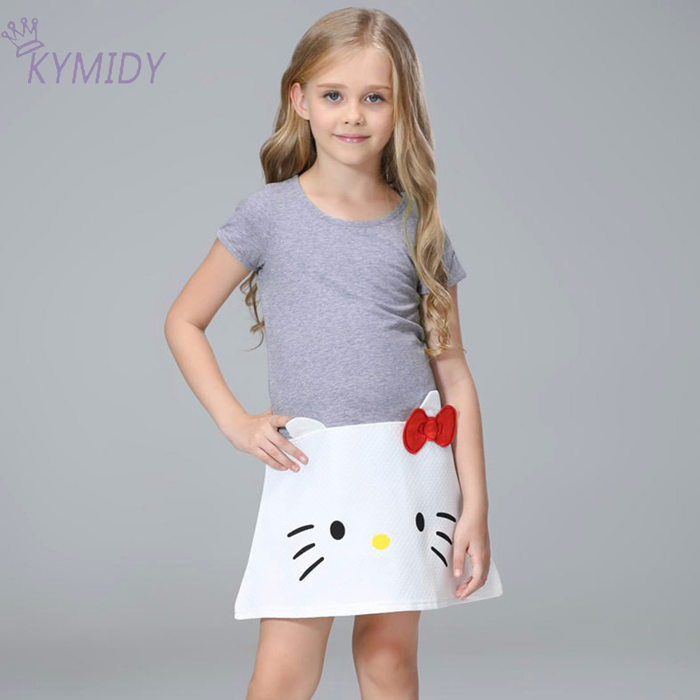 2017 Summer Cute Baby Minnie Girl Dress Kitty C Casual Gray Princess Dresses for Girls Clothes Children's Birthday Party