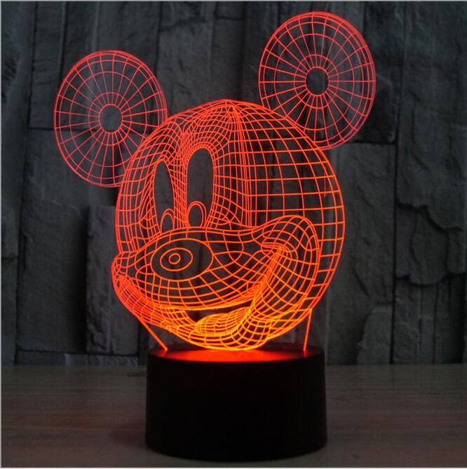 Новинка мультфильм ребенка ночник 3D Микки Мышь ребенок Спальня светодиодные настольные ночники домашнего Декоративные Атмосфера ночник