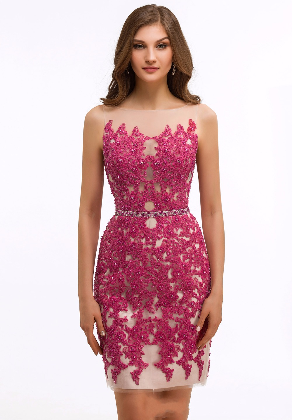 81fe7af4f21 2017 New Sexy Fuchsia Nude Short Cocktail Party Dresses Sleeves Sheer  Beaded Lace Tight Fitted Cocktail Dresses Robe De Cocktail-in Cocktail  Dresses from ...