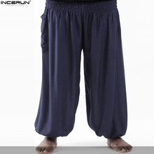INCERUN hombres Casual Joggers indio Harem fluido hombres gota entrepierna  pantalones Nepal elástico cintura pierna ancha b2a9dab87f0