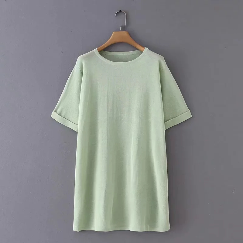 Solid Women Translucent Knitting Side Slit T shirt O neck Short Sleeve Loose Long Tops 2019 Summer Casual Lady Tee Shirt T1195-in T-Shirts from Women's Clothing on AliExpress - 11.11_Double 11_Singles' Day 1