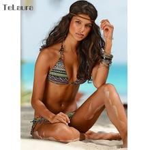 Push Up Halter Top Padded Print Brazilian Bikini
