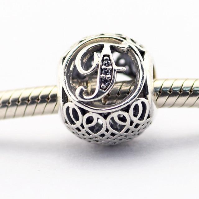 Letra f beads fit pandora encantos pulseira prata 925 original do alfabeto do vintage bijouterie mulheres belas jóias diy fazendo presentes