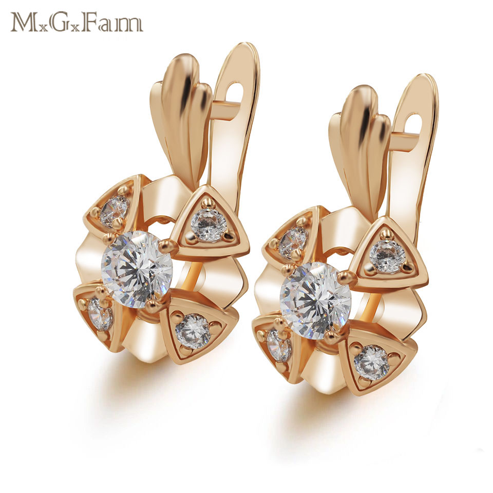 47eccc5db MxGxFam Gold Color Hoop Earrings For Women Fashion Jewellry AAA+ Cubic  Zircon 2018 New Design Good Quality