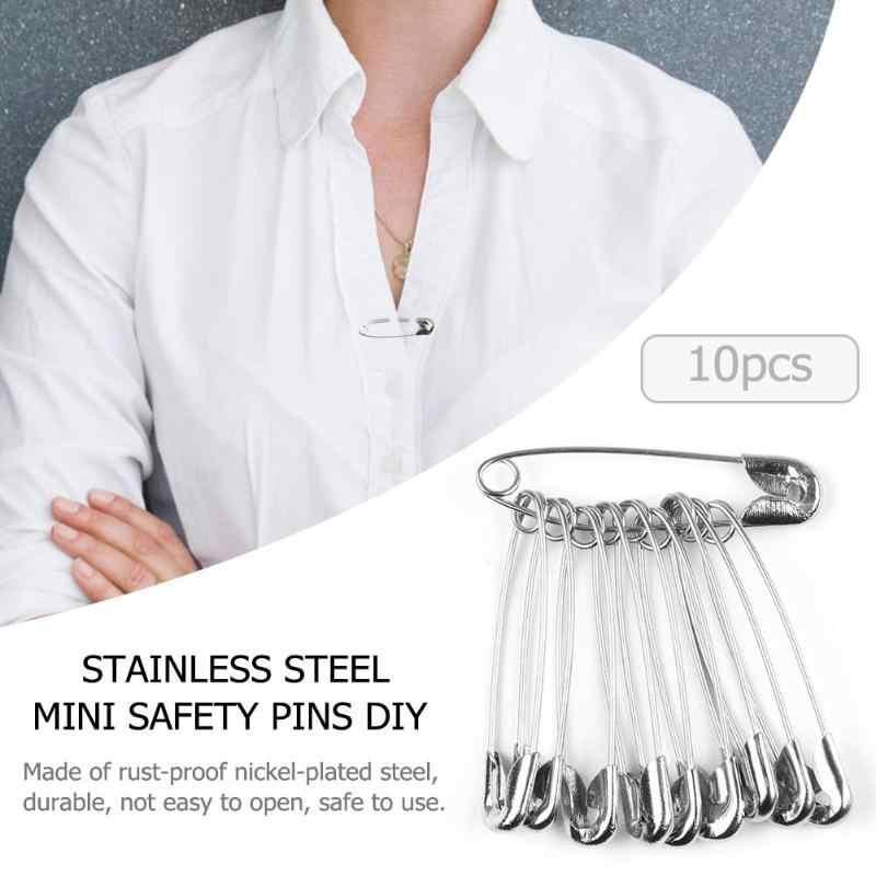 100 Pcs Stainless Steel Mini Keselamatan Pins Diy Tahan Karat Gesper Pin Logam Bros Lencana Jarum Jahit Merajut Cross Stitch Marker: