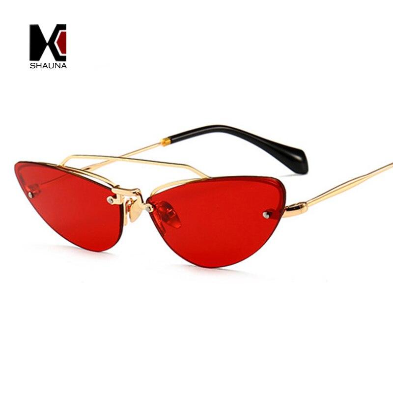 e7188fd20cf9 SHAUNA ins hot sales Double Bridges Women Rimless Cat Eye Sunglasses  Popular Men tint Clear Red Purple Tea lady Sun Glasse UV400-in Sunglasses  from Women's ...