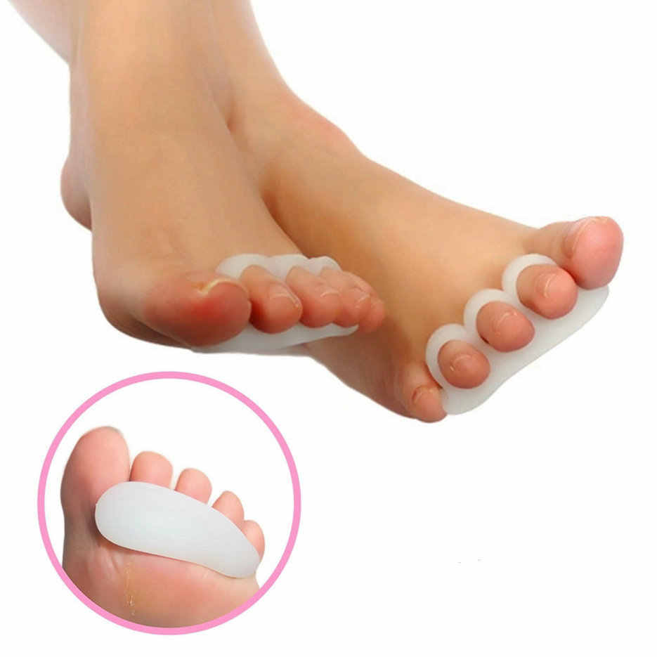 MOONBIFFY 2pcs Gel Toe Separators Stretchers Alignment Overlapping Toes Orthotics Hammer Toes Orthopedic Cushion Shoes Insoles
