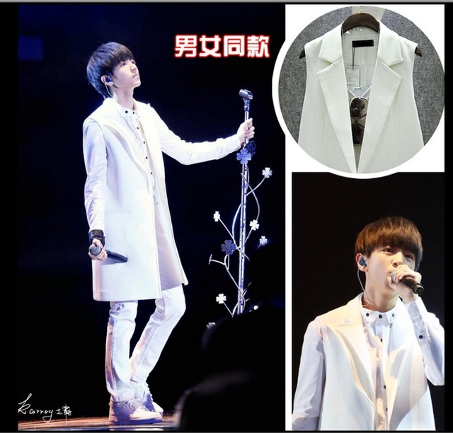 HOT 2016 spring men clothing outerwear medium-long sleeveless white suit vest casual fashion long coat nightclub singer costumes
