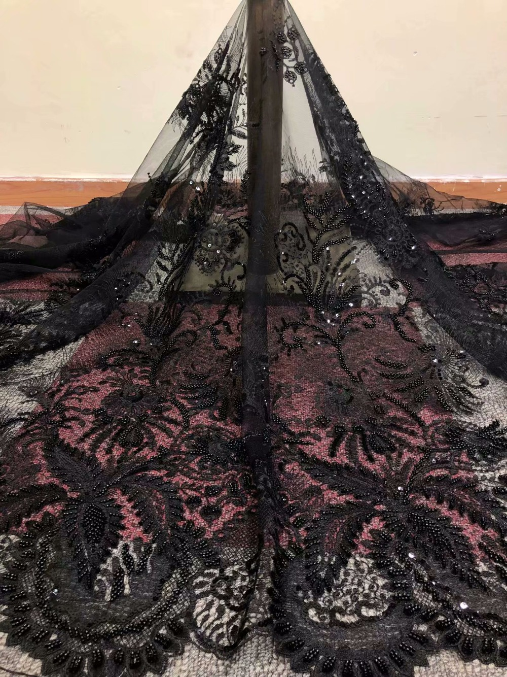 Вышитые кружева, тюль, ручной работы жемчуг кружевной ткани для свадьбы