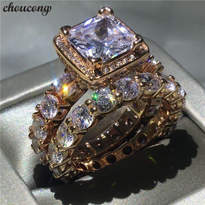 Choucong 2018 bague Vintage 5A zircon Cz or Rose rempli 925 argent bagues de fiançailles de mariage ensemble pour les femmes bijoux de mariée