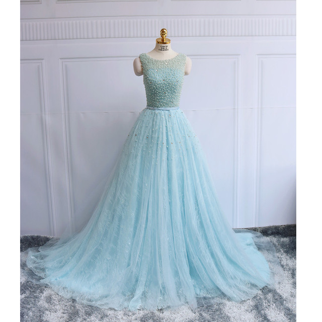 Romantic Blue Wedding Dress 2019 Lace Heavy Pearls Puffy A-Line Sweep Train Luxury  Bridal Gown Romantic Bride Dresses Real Photo 81d05932e