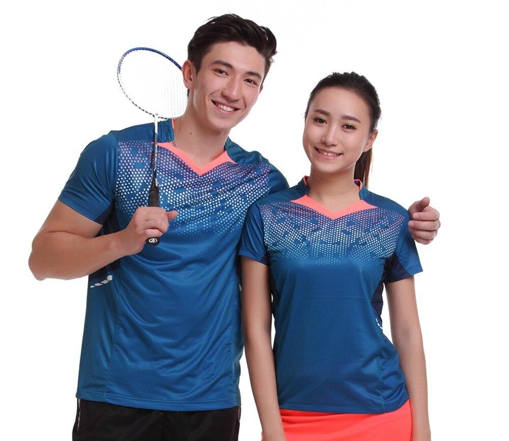 Для женщин/Для мужчин настольным теннисом одежда командная игра обучение с коротким рукавом V шеи футболки спортивная быстросохнущая дышащ...