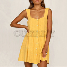 Cuerly 2019 summer button sundress casual yellow pockets mini day dress female vestidos L5