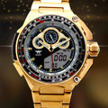 Многофункциональный марка AMST Золота роскошный Бизнес Часы LED Календарь Мужчины Открытый Часы водонепроницаемые мужские Двойной Дисплей Кварц часы