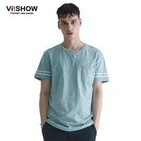 Viishow Light Green Summer Mens T Shirt Casual Pocket Round Neck Top Tee Shirt Casual Sport