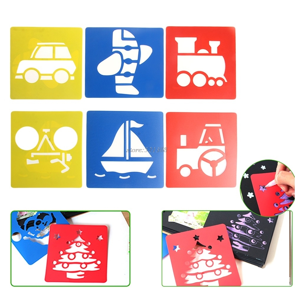 6Pcs Children Transport Shaped Plastic Painting Drawing Template Stencil Kids Toy Gift JUN12