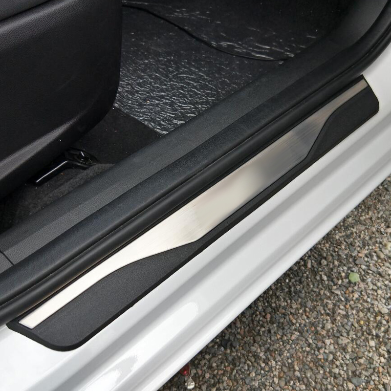For kia rio 3 Accessories Door Sill Scuff Plate Guards Carbon Fiber Door Sills Protector For 2017 KIA Rio 4 car-styling