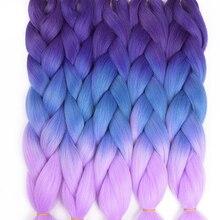 TOMO Hair 24″ Ombre Kanekalon Jumbo Braiding Hair Synthetic Crochet Braid Hair Extensions 100g Bulk Hair