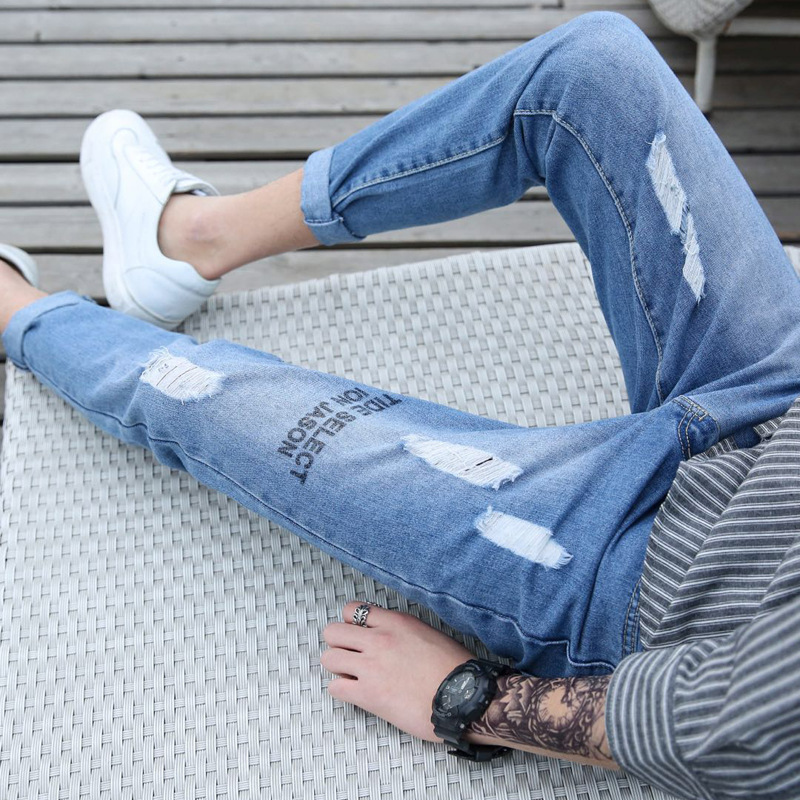 Mens light color holes, jeans, thin body, nine points, trousers, mens Korean version, small trousers, trend beggar pants.
