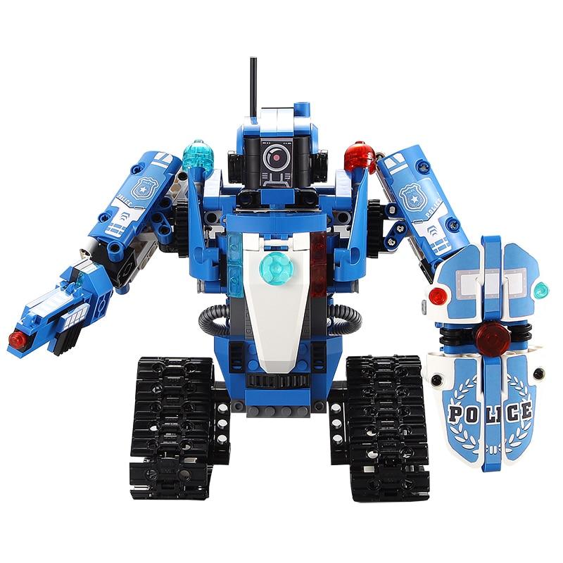 526 sztuk Technic Creator policji seria klocki klocki pojazdu 2 IN 1 transformacja RC samochód robot edukacyjne dla dzieci zabawki w Klocki od Zabawki i hobby na  Grupa 2