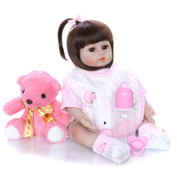 48CM bebe doll reborn toddler girl doll soft silicone reborn baby doll child bed time toys xmas gift toy dolls