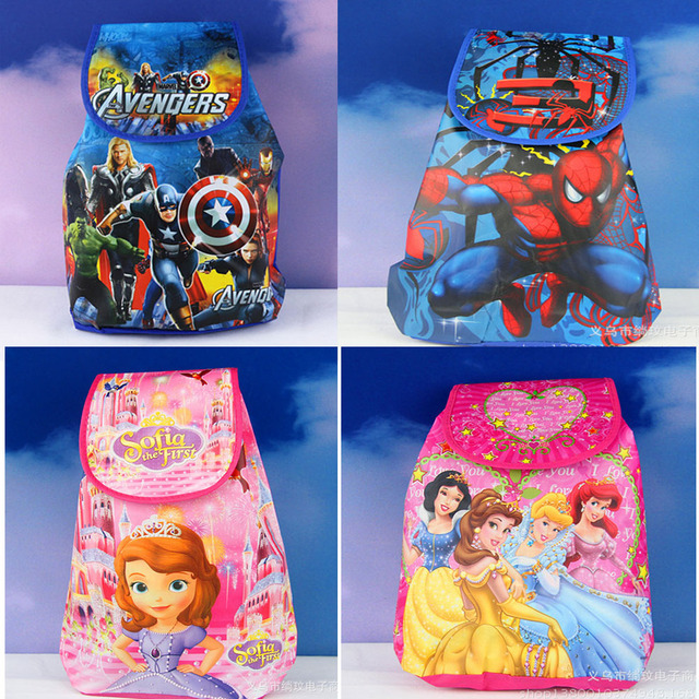 49501b68fe 12Pcs Avengers Spiderman Princess Sofia Cartoon Kids Drawstring Backpack  Shopping School Traveling Party Bags Birthday Gifts