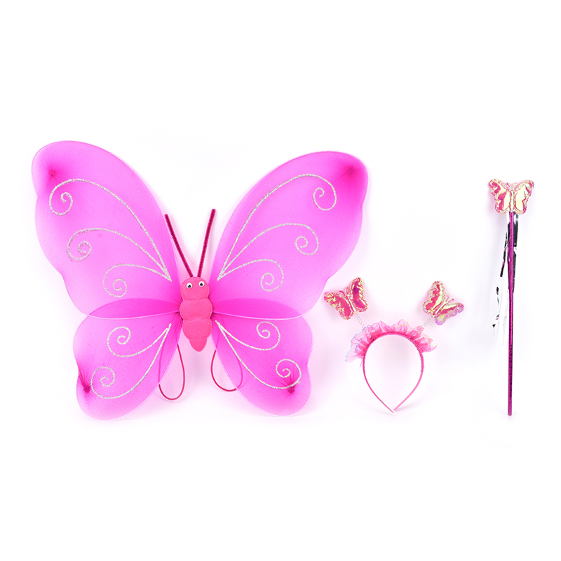 3 Pcs/Set Fairy Princess Christmas Costume Butterfly Wing Wand Headband Lovely Party Costumes Princess Girl Kids