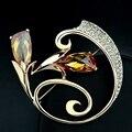 Известный бренд позолоченные Австрийский желтый кристалл цветы броши булавки Цитрин мода Женщины ювелирные изделия Корсаж подруга подарок на день рождения