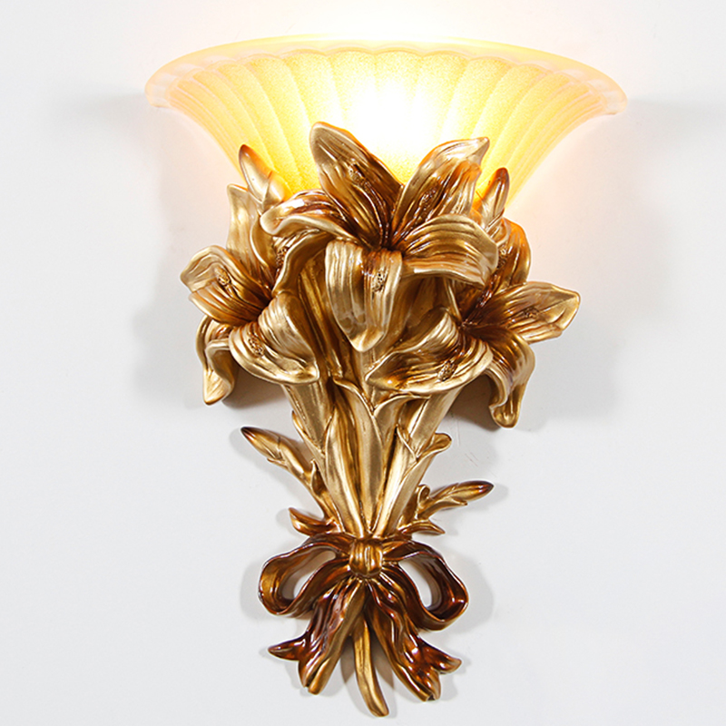 Classic LED Glass Gold Wall Lamp Gold Resin Flower Wall Sconce Fixture For Bedroom Corridor Wall Lights For Home Flower G705