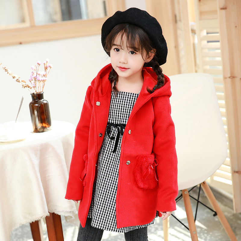 2017 New Kids Girls Hooded Jacket Loose Hoodies Cute Children Thick Clothes Girl Fashion Winter Warm Loose Outerwear new baby girls cotton coat winter fashion fur collar hooded jacket thick warm velour outerwear candy children kids clothes xl254