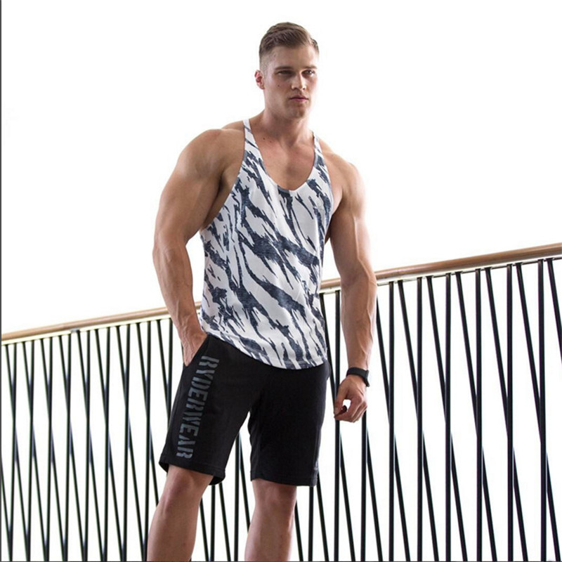 2018 Brand clothing Fitness   Tank     Tops   Men Bodybuilding Sleeveless Shirt Workout Cotton Vest Leopard Print Lycra gyms Undershirt