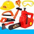 Herramienta de reparación de simulación toys ejes martillos sierras motosierra cascos de protección máscara de gas de plástico play house toy conjunto de herramientas de modelado bebé
