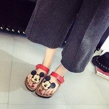 Mujeres zapatillas 2017 verano zapatillas de corcho antideslizante femenino lindo de la historieta de mickey Minnie sandalias de fondo plano zapatillas de playa flip flop