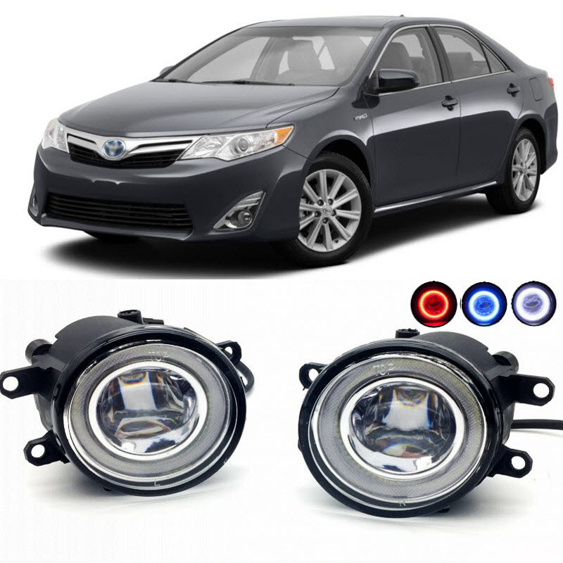 2 in 1 LED Cut-Line Lens Fog Lights Lamp 3 Colors Angel Eyes DRL Daytime Running Lights for Toyota Camry North America 2007-2017 high quality white led daytime running fog lights lamp drl for toyota camry 2015 2016