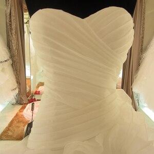 Image 3 - SL 7070 מכירה לוהטת תמונה אמיתית אורגנזה כלה שמלת מתוקה ראפלס בציר חתונה שמלה בתוספת גודל